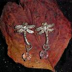 "STERLING SILVER DRAGONFLIES with crystal beads that are faceted and shine in many rainbow colors as they dangle. Dragonflies have a 1"" wingspread and hang about 1-1/2"" below the ear.  Price:$75.00"