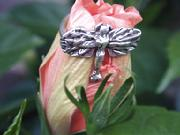 Tiny Dragonfly Ring, sometimes seen as a Fairy. Sweet small ring in Sterling SIlver.7-8. $60.00