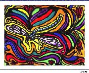 DRAGONFLY NOTE.GREETING CARD. EXOTIC DRAGONFLY  IN  SWIRLING BRIGHT COLORS.