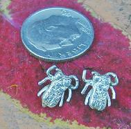 FLY EAR STUDS -TINY FLIES -TWO WILL FIT ON A DIME. STERLING SILVER. $65.00