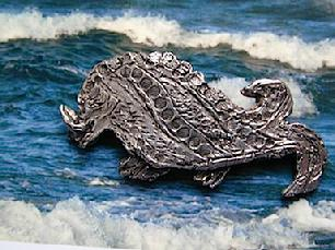 "MEDIEVAL BOARWHALE PIN. 2.25"" Long.$140.00Sterling Silver"